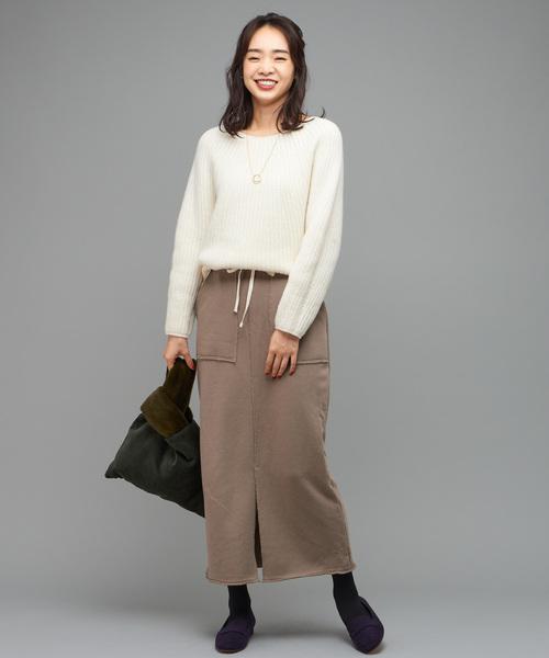 【WEB限定】ウール混裏毛タイトスカート