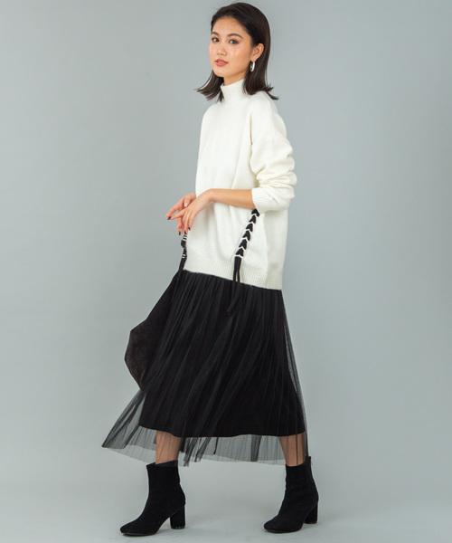 [COLONY 2139] ベロア×チュールプリーツスカート