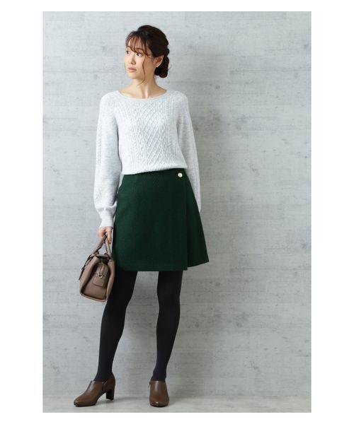 [NATURAL BEAUTY BASIC] 【美人百花 1月号掲載】パールボタンウールツイードスカート
