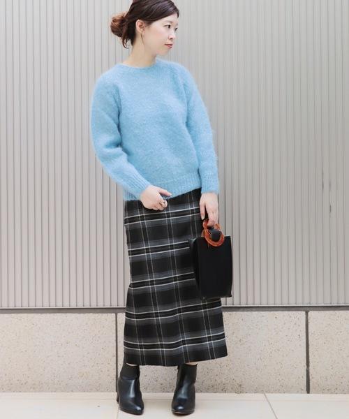 ウールフラノチェックタイトスカート