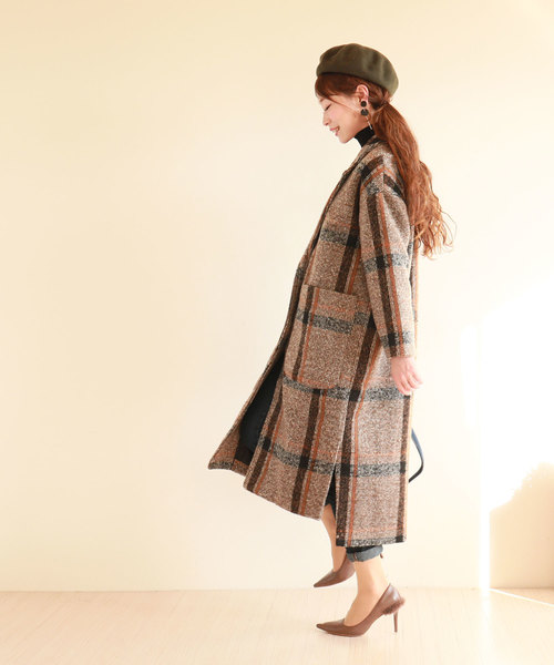 [Sawa a la mode] 落ち着きカラーのビッグポケットチェスターコート