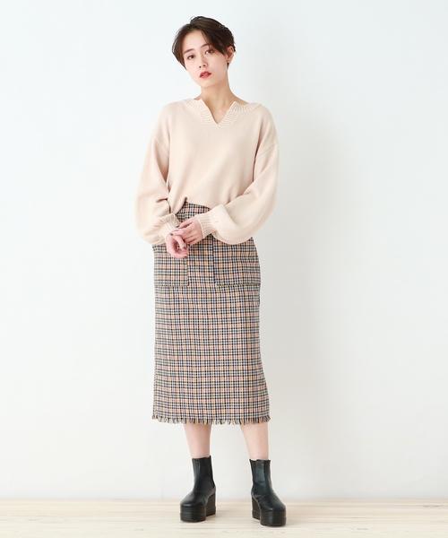 [OZOC] 【洗える】裾フリンジナロースカート
