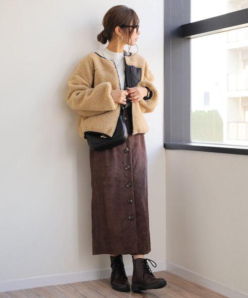コーデュロイスカート(ブラウン)2