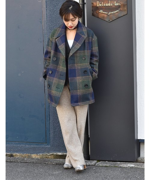 [Eimee Law & WASH] ガバッと羽織れて上品なチェックのピーコート