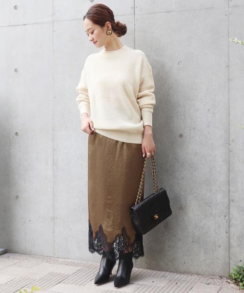サテン裾レース ロングタイトスカート
