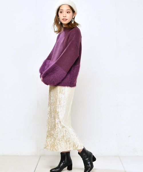 [natural couture] フェザー切替ニット