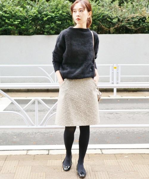 ラメボンボン台形スカート