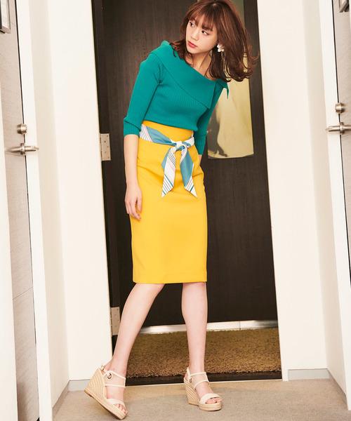 [31 Sons de mode] スカーフ付きタイトスカート