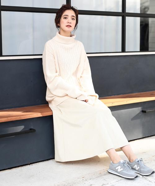 [koe] 細コーデュロイマキシフレアスカート