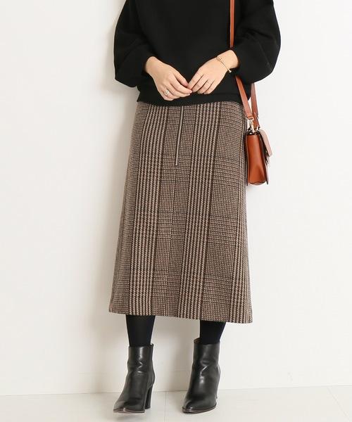 チェックツィードフロントジップスカート