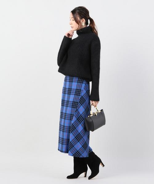 [IENA] タータンチェックフレアスカート◆