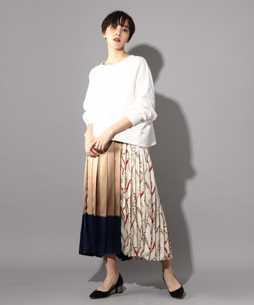 [PAGEBOY] スカーフ切り替えプリーツスカート