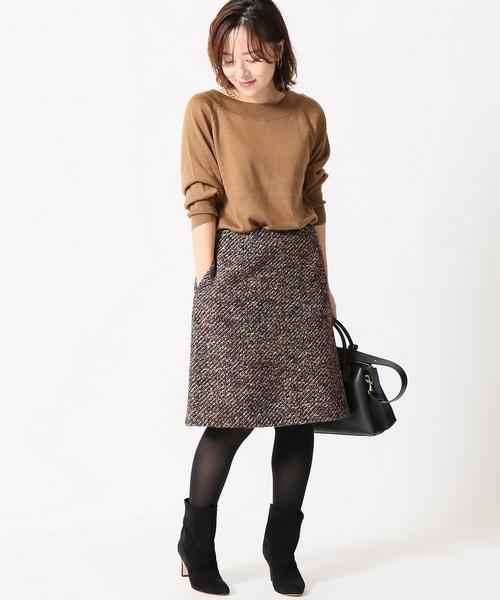 膝丈 ツイード素材 スカート