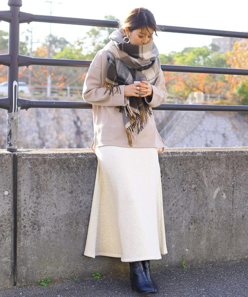 [reca] しっかり暖か 裏起毛スウェットフレアスカート