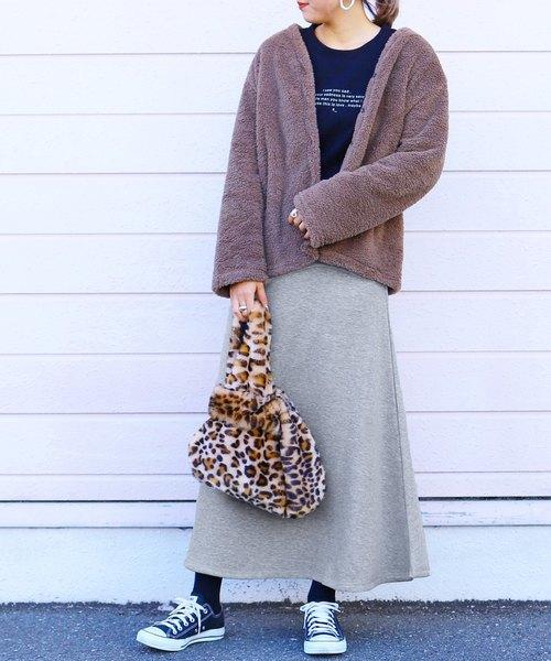 しっかり暖か 裏起毛スウェットフレアスカート