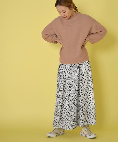 [w closet] 小花柄パネル切替ギャザースカート