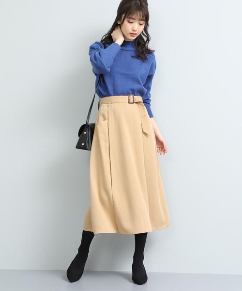 [ViS] ベルト付きナローシルエットスカート
