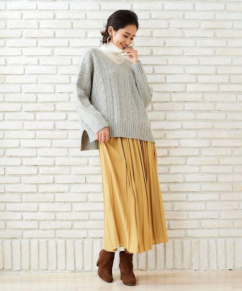 [le.coeur blanc] ビンテージサテンプリーツロングスカート