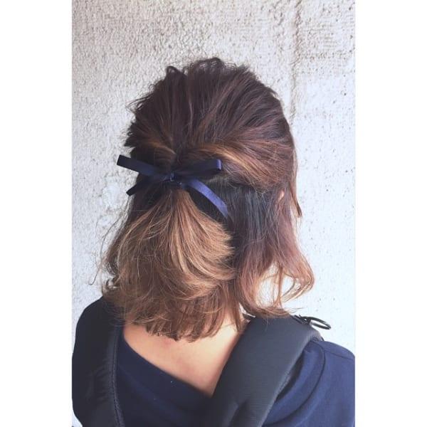 ストレートヘア ハーフアップアレンジ10