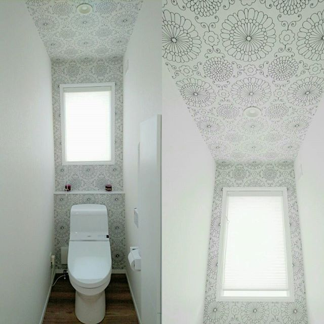 トイレインテリア 天井と壁をつなげて