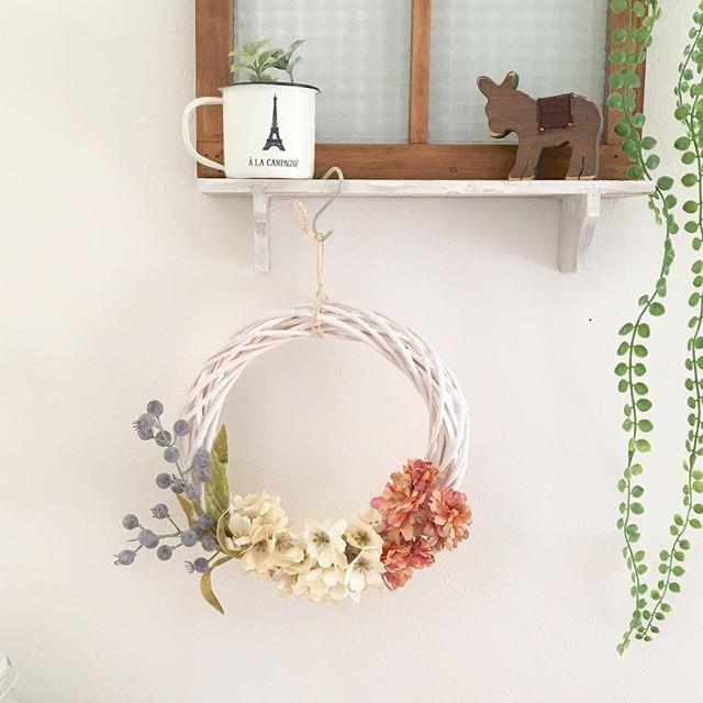 春インテリア 花 リース DIY