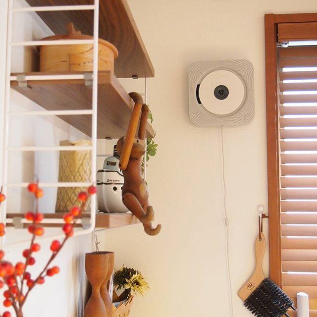 壁掛け収納 壁掛けできるCDプレーヤー2