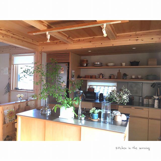 ステンレス仕様のアイランドキッチン