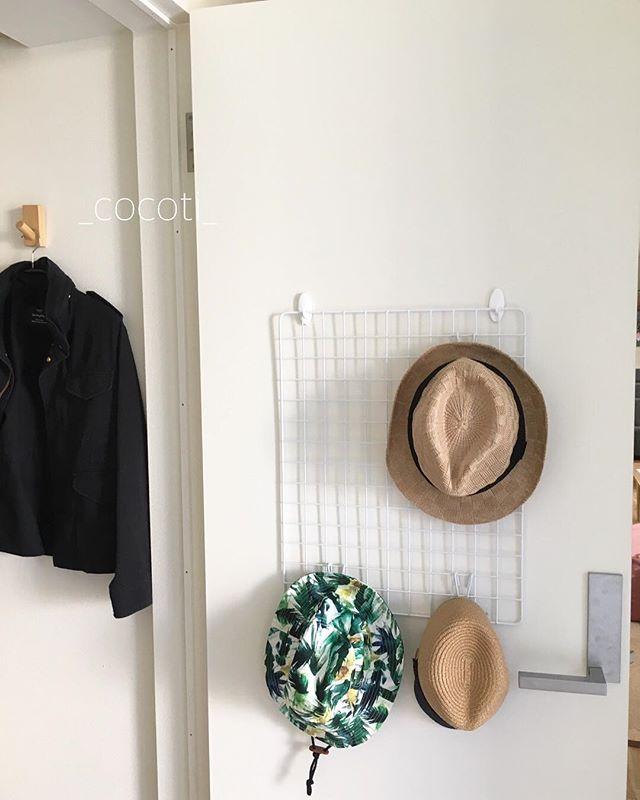 ワイヤーネットを活用した帽子の収納2