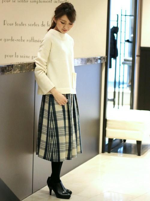 柄スカート 白 ホワイト4