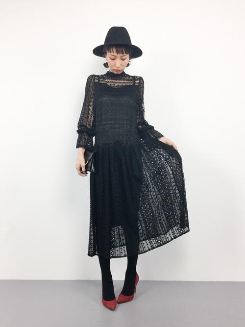 結婚式 服装 ブラック ワンピース3