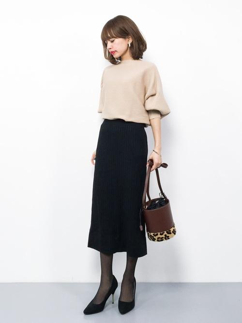 リブニットスカート 黒2