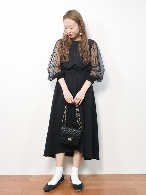 結婚式 服装 ブラック ワンピース2
