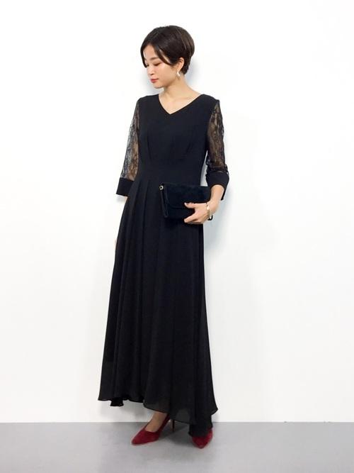 [Dorry Doll/ Luxe brille] シアースリーブアイラインセミロング丈ワンピースドレス《LONG DRESS》