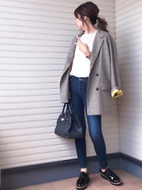[haco!] <高橋愛さんコラボ>ラブ&ピースプロジェクト 裏地配色がかわいいチェック柄のダブルボタンジャケット