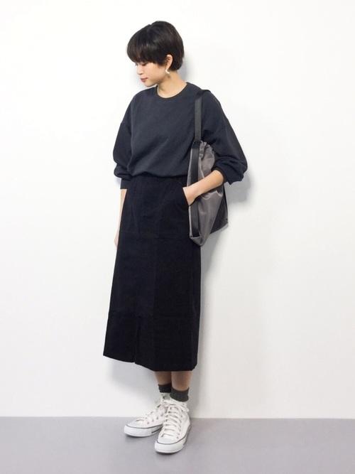 [and Me(アンドミー)] 綿ツイル ベイカー タイトスカート ベルト付き ロングスカート ウエストゴム