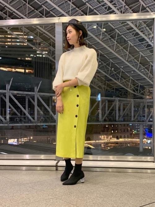 [LAGUNAMOON] フェイクスエードカラータイトスカート