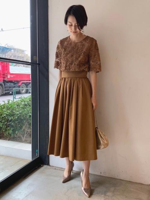 [LAGUNAMOON] LADYオーバーレースギャザードレス