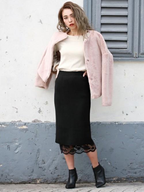リバーシブルレース×ニットスカート