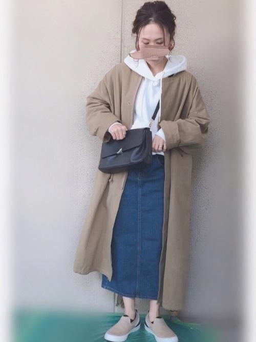 ミリタリーコート×スカート4