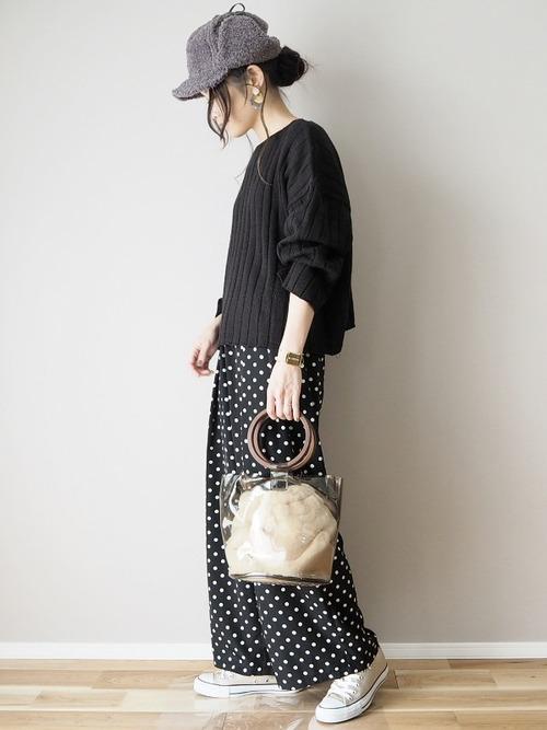 [merlot] ファー巾着付きウッドハンドルクリアバケツバッグ2990