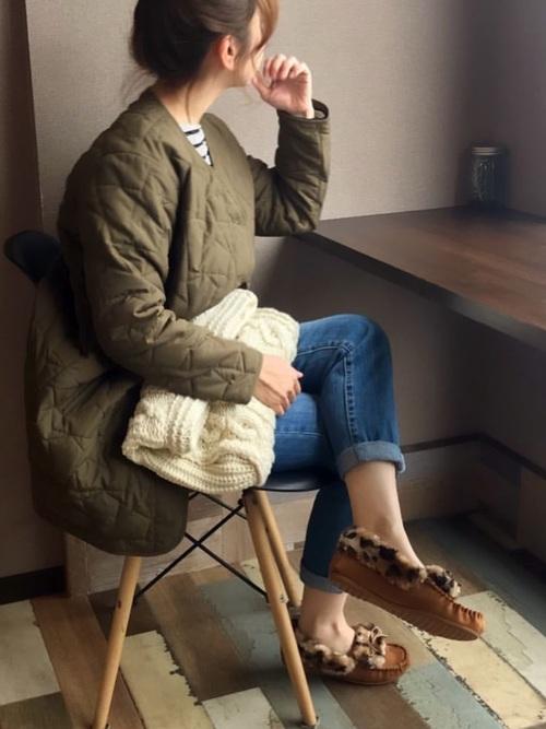 [Shoes in Closet -シュークロ-] フチボア♪リボンレオパードモカシン