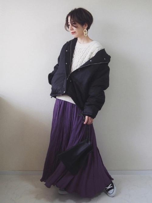 スラブボリュームマキシスカート