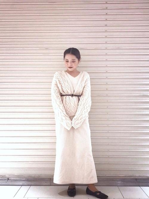 コーデュロイアイラインスカート