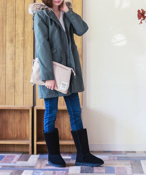 [Outletshoes] フェイクファー ロング ムートンブーツ