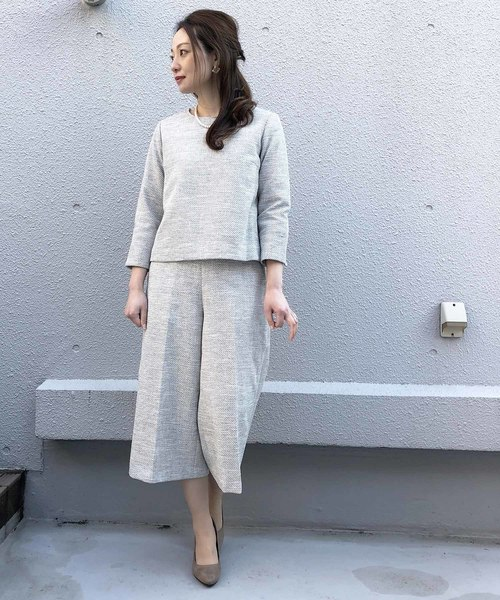 [PICCIN] 綾織りツイードプルオーバーブラウス