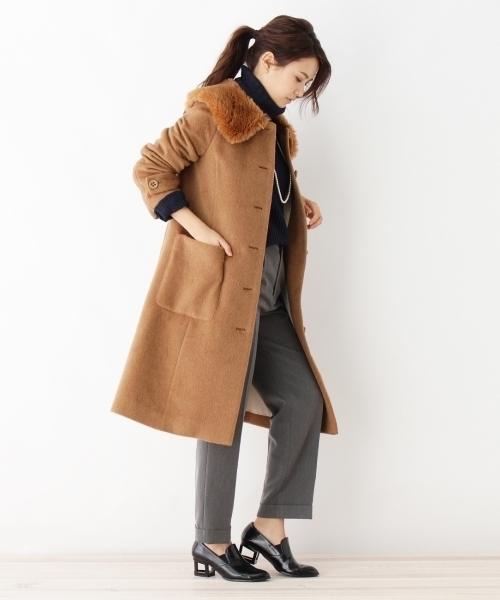 [index] エコファー衿シャギーコート