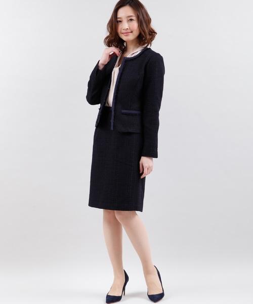 [CLEAR IMPRESSION] ファンシーツイードAラインスカート【スーツ/オケージョン/マザーニーズ】