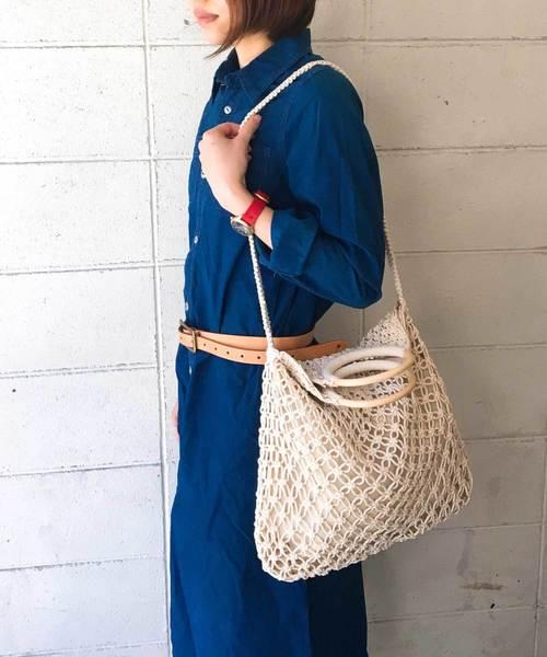 [TIDEWAY] 【2WAY】MACRAME WOODRING BAG