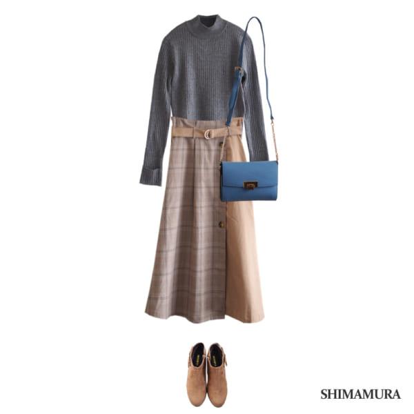 異素材MIXスカートできれいめトレンドコーデ