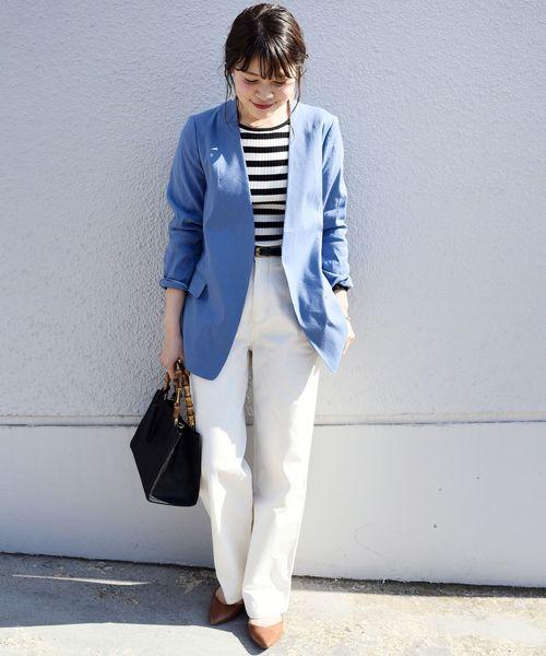 [SHIPS for women] リネンレーヨン羽織りジャケット